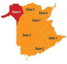 Zone 4 in RED, all others in ORANGE